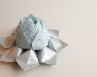 Origami Tea Light Paper Flower -  battery LED candle - decor, Valentine's Day, Silver Anniversary,  hostess gift, can ship directly'