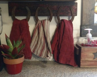 Western décor Tri Hand Towel Holder for Kitchen or Bathroom. Customized to match your Décor