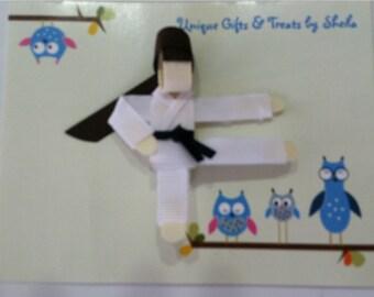 Handmade Karate Girl Sculpture Hair Clip