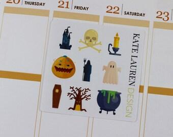 Halloween Planner Stickers for Erin Condren, Halloween Stickers, Cute Stickers