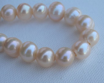 12mm Half Strand Large Hole Potato Natural Peach Freshwater Pearl Beads 2.2mm Hole, Lustrous Genuine Freshwater Potato Pearl Beads(LHPH-171)