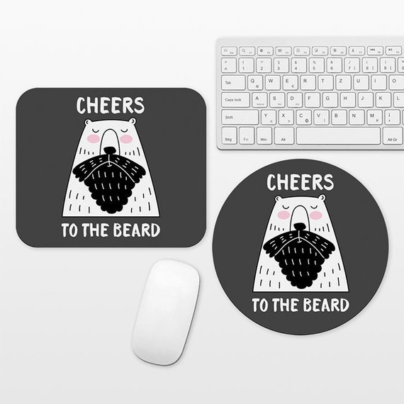 Bear Beard Mouse Pad, Hipster Mousepad, Funny Mouse Pad Mouse Mat, Round Rectangular, Beard Gift, Cubicle Decor Desk Office Decor for Men
