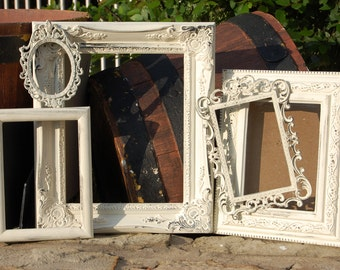 Antique White Picture Frames - Rustic Shabby Chic Frames - WEDDING - NURSERY - Distressed Farmhouse Frame