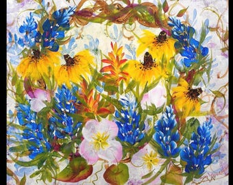 Texas Bluebonnets wall decor original painting