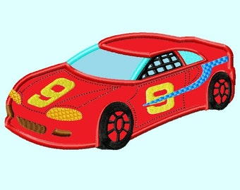 Red Race Car APPLIQUE Embroidery Design 3 sizes INSTANT DOWNLOAD