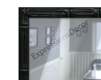Custom Black Bamboo Wall Mirror - Flat Glass - FREE SHIPPING