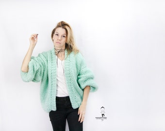 Chunky Cardigan - Oversized Knitted Cardigan - Mint Bomber - Loose fit - Open Style Sweater - LILU Cardigan - Loose fit Sweater