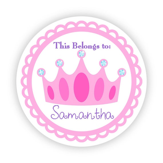 Name label tag stickers adorable pink fairytale princess crown personalized name tag stickers round tags back to school name labels
