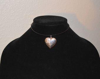 Silver Heart Locket Choker