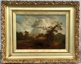 Antique Oil Painting English Landscape 19th Century Canvas.