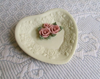Roses Ring Dish, heart shaped, ceramic clay candy dish, vintage housewares collectible, s5