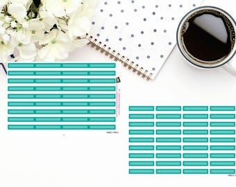 Planner Stickers|Box Stickers|Teal Blue Box Stickers| Hourly and Vertical Planners| For use in a variety of planners and journals|HB021