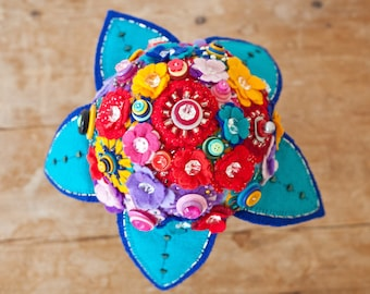 Carnival Inspired Felt and Button Bouquet