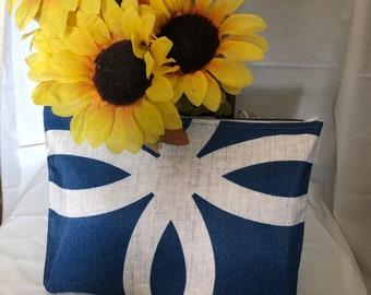 Blue and white, abstract, clutch, cosmetic bag