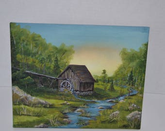 8x10 canvas Acrylic Painting, Old Mill with Stream, Rustic Landscape