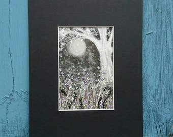 Fantasy Textile Artwork - Moonlight Under the Trees - Small Hand Painted and Stitched Mounted Artwork (6 inches by 4 inches)