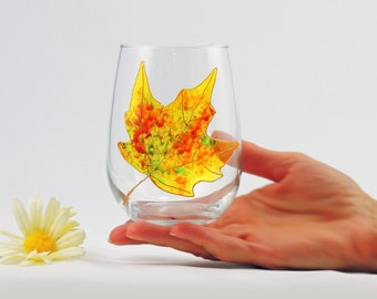 Maple leaf wine glass, Fall stemless wine glass, Hand painted, Colorful, Autumn Leaves collection