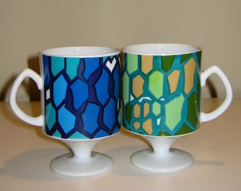Groovy 1960s Stained Glass Style Pedestal Mugs in Blues and Greens