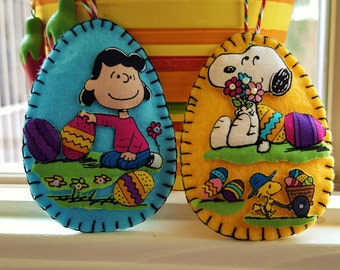 TWO Peanuts Easter eggs felt Decorations-Snoopy & Lucy Easter-3D Easter Egg felt and fabric door decorations-Handmade applique gift-TWO Eggs