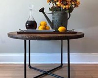 Industrial cable spool coffee table round coffee table reclaimed wood farmhouse rustic salvage iron barn wood barnwood