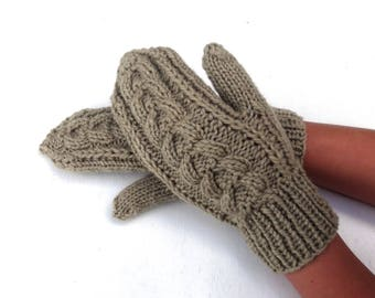 Mittens, hand knitted wool mittens, gray mitts, knit cabled gloves, hand knit hand warmers, winter gloves for women, handmade arm warmers
