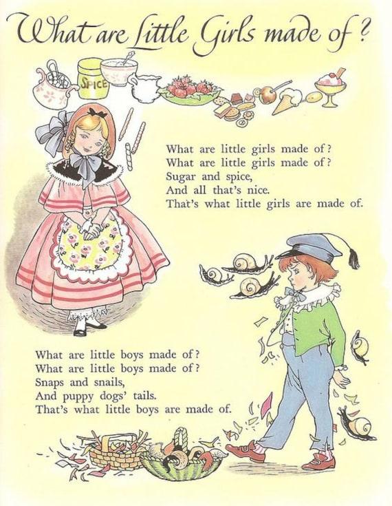Art Print on SILK Vintage Nursery Rhyme What are little girls