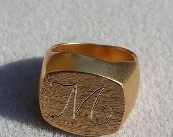 Gold Ring for Women, Signet Ring, Yellow Gold Ring, 14K Gold Ring, Engraved Ring, 18K Gold Ring, Personalized Ring, 14K Yellow Gold Ring