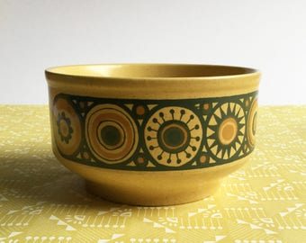 1970s Mustard yellow Kiln Craft 'Bacchus' soup / cereal bowl, great retro design