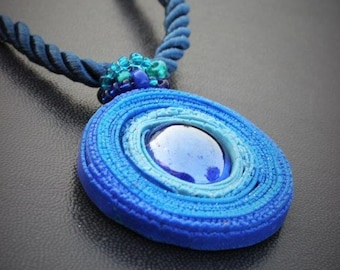 Polymer clay blue pendant necklace, Modern blue pendant, Contemporary handmade art necklace, Statement blue pendant necklace