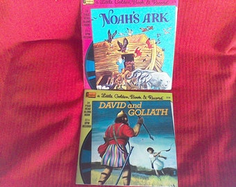 Little Golden Books, Noah's Ark, David and Goliath Books and Records made in the USA, Disneyland Records