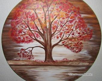 fall tree painting, wood wall art landscape metallic fall foliage fall leaves, fall colors, tree painting, original painting, tree wall art,