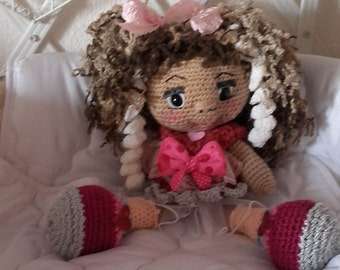 Curly crochet doll