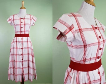 1980s White & Red Plaid Day Dress - 80s does 50s Style - Size Small -