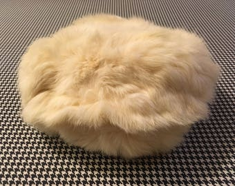 1960's, fur, beret, in off white