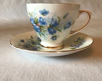 Beautiful Royal Sutherland Fine bone china Tea cup and Saucer Staffordshire England Blue Floral Gold trim