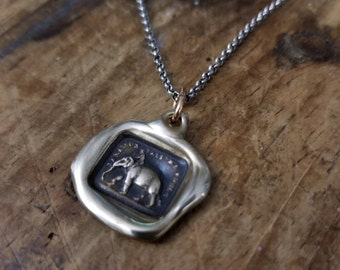 Bronze Elephant Strength wax seal necklace from antique french seal - My Strength is my Virtue - 229