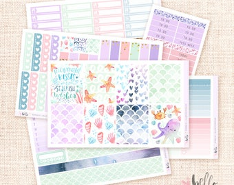 Mermaid collection sticker KIT / 6 page set, planner stickers