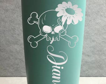 Personalized Engraved Skull with Daisy Powder Coated Insulated 20 oz Tumbler 4 colors available