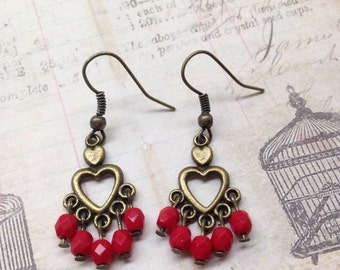Heart Beaded Antique Brass Earrings