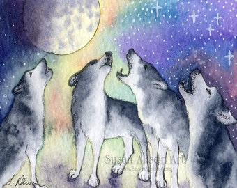 Siberian husky dog 5x7 8x10 11x14 art print singing sibes sled dogs choir practice choral music howling at the moon by Susan Alison painting