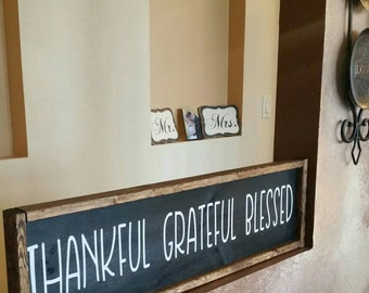 Thankful grateful blessed framed wood barn farmhouse sign thanksgiving themed dining room decor