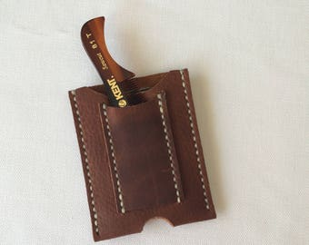 Minimalist  Leather Wallet , Money Clip  Handmade with Beard Comb
