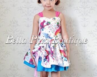 Ready to ship sz 4t -White Trolls Poppy Dress