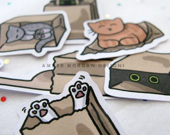 Cute Cat Stickers, Paper Stickers, Journaling, Sticker Flakes, Stationery, Scrapbooking, Cute Cats, Funny Cats, Silly Cats, Paper Bags
