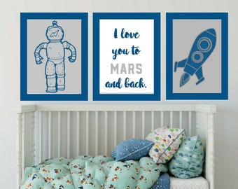 Modern Kids Wall Art Set of 3 Blue and Grey Space Nursery Printables DIY Space Theme Instant Download Astronaut Rocketship