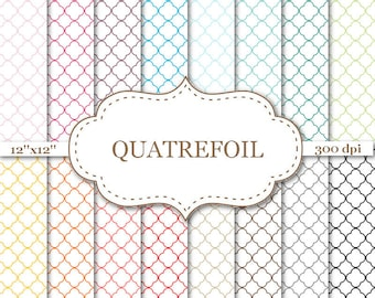 "QUATREFOIL Digital Paper Colorful Qatrefoil Scrapbook Paper Printable quatrefoil pattern paper Scrapbooking Instant Download 12""x12"" #P068"