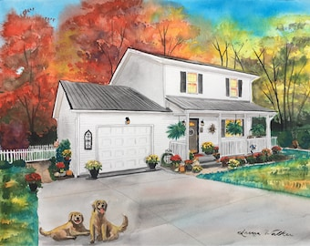 watercolor painting of house from photo