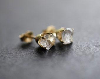 Raw Diamond Earrings, Solid 14k Gold Earrings, Bridal Studs, Rough Diamond Earrings, Unique Earrings Small Gold Studs Uncut Diamond Earrings