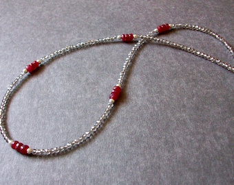 Ruby Necklace Real Ruby Necklace Ruby Silver Necklace July Birthstone Necklace SS Red Precious Necklace Teen Choker Ruby Minimalist Necklace