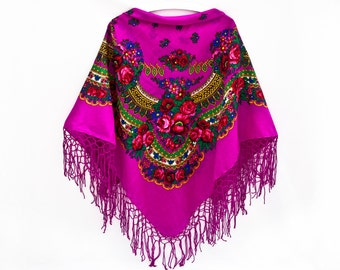 Summer Party, Bright Pink Russian Shawl With Tassels, Summer Outdoors, Boho Floral Shawl Bohemian Scarf Gift for Bride Mother Day Gift